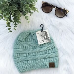 C.C Beanie Solid Mint Stretch Cable Knit Hat Soft CC Stocking Cap