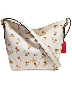 NWT COACH Cherries Print Small Duflette Leather Purse Messenger Bag 27504 Chalk