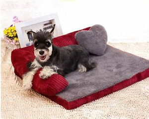 New Comfortable Pet Dog Cat Sofa Bed House Cushion Mat Kennel+Pillow S,M,L Brown