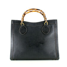 Authentic Gucci Vintage Bamboo Handles Leather Tote Bag in Black - Italy