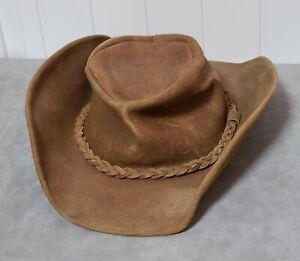 Vintage Minnetonka Men's Hat Large Brown Leather Cowboy Outback Braided Band med