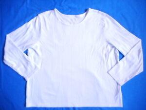 Womens Top-L.L. BEAN-off-white 100% supima cotton knit ls-2X