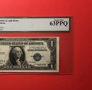 1935 G-$1 SILVER CERTIFICATE NOTE( WITH MOTTO ),GRADED BY LEGACY CHOICE NEW 63.
