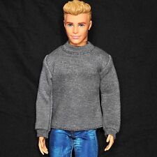 Barbie Ken Doll Fashion Clothes Grey T-shirt with Long Sleeves For KEN Dolls