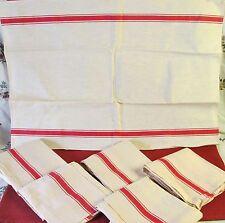 PAIR (2) VINTAGE FRENCH LARGE UNUSED METIS LINEN TEA TOWELS RED STRIPE KITCHEN