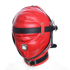 New Leather Full Mask Padded Costume Head Hood Headgear Restraint Gear +Locks