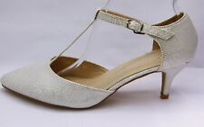 Zapatos de Novia Fiesta de Noche Zapatos Con Tiras Blanco Plata LX1901