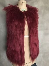 Women's Wine FAUX MONKEY FUR Vest Lined Coachella/Burning Man S/M Vintage Shop