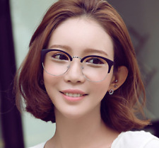 Cats eye Eyeglasses Women Men half-rim Black+silver Optic Glasses Frames RX-able