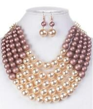 Adjustable 5 Layer Matte Pink and Cream Pearl Necklace with Earrings