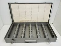 Gray Metal Slide Storage Box Case Holds 150 2X2 Slides Tray Vintage