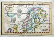 SWEDEN NORWAY ICELAND  MINIATURE  MAP c1808   GENUINE ANTIQUE COPPER PLATE MAP