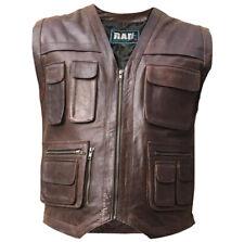 Men Leather Cargo Combat Vest Hiking Fishing Hunting Waiscoat Commondo 10 Pocket