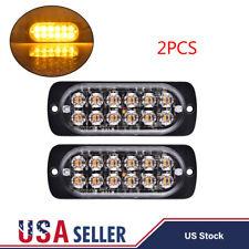 2x Amber 12 LED Strobe Light Bar Car Truck Hazard Beacon Flash Warning Emergency