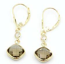 Smokey Topaz & Cubic Zirconia Dangle Earrings,14K Yellow Gold with Leverbacks