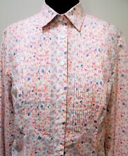 AS NEW Size 12 Charles Trywhitt Pink & White Floral Cotton Blouse- 50cm Bust