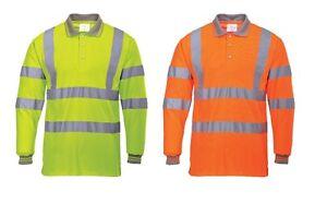 Portwest S277 Hi-Vis Long Sleeved Polo Shirt Workwear