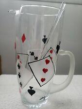 "Vintage Martini Cocktail Glass Pitcher  Stirrer 8.5"" tall  Poker Cards"