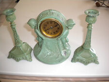 Vintage Turn-of-the-Century Clock and Candlestick Set