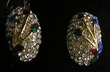 Vintage Fashion jewelry clear Rhinestone CRYSTAL EARRINGS clip on Gold tone