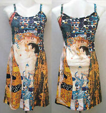 Gustav Klimt Mother & Child ART Printed Spaghetti Tank Dress Size L Large D694