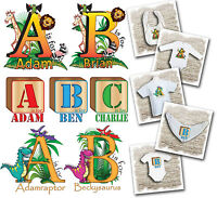 Personalised Kids Alphabet t-shirt, baby bodysuits and bibs. 3 design options.