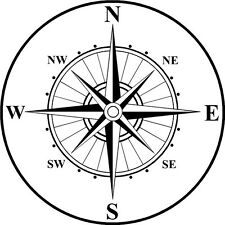 Nautical Rose Compass Waterproof Vinyl Boat Car Van Wall Sticker Decal small