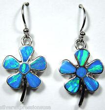 Blu Opale di fuoco intarsio argento massiccio sterling 925 fiore