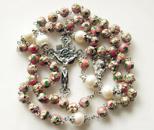 Pink CLOISONNE & 10mm Pearl BEADS ROSARY NICE Crucifix CROSS NECKLACE CATHOLIC
