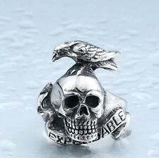 New Men's Stainless Titanium Steel Skull Crow Punk Ring Fashion Jewelry Size 19#