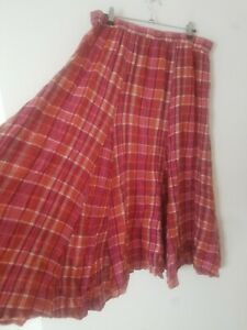 Vintage Boho Pink 100% Cotton Tartan Check Midi Skirt Kilt Size 14/16 Hippie
