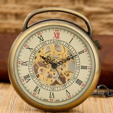 Bronze Wind Up Open Face Roman Numerals Mechanical Hand Winding Men Pocket Watch