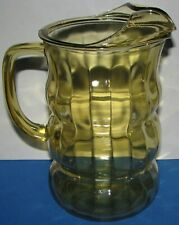 Unique Vintage Amber Glass Water Juice Pitcher Ice Lip Ribbed Paneled Balloon