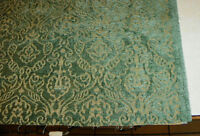 Green Tan Print Cut Chenille Upholstery Fabric Remnant  F498