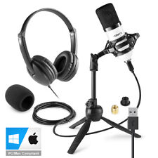 More details for usb studio microphone for pc mac recording with stand, headphones cm300w vh100