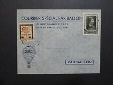 Belgium 1953 Balloon Cover w/ Overprinted Private Stamp - Z8810