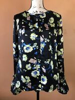 Derek Lam 10 Crosby Black Floral Silk Flounce Sleeve Blouse Shirt Top Size 8