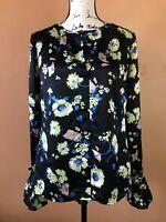 Derek Lam 10 Crosby Black Floral Silk Flounce Sleeve Blouse Shirt Top Size 8