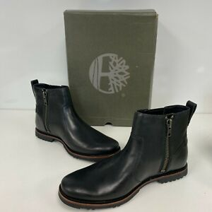 Timberland Mens Black Kendrick Leather Side-Zip Chelsea Boots Size US 9 M $140