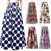 Vintage retro long skirt flared floral boho new high waist women maxi dress