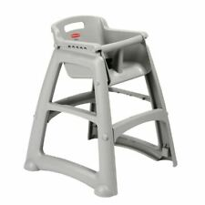 More details for rubbermaid sturdy stacking high chairs in platinum easy to clean - 756x597x597mm