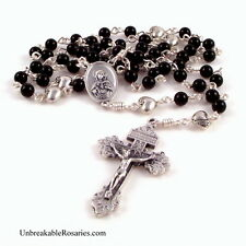 Immaculate Heart Mary Unbreakable Rosary Beads Black Onyx w Sacred Heart Jesus