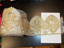sari asian trim lace GOLD Indian wedding dance costume ribbon crystal applique