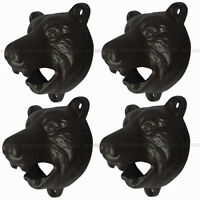 4x Cast Iron Wall Mount Grizzly Bear Teeth Bite Bottle Opener Pub Bar Mounted