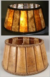 Large Antique c1920s Arts & Crafts Table Lamp Curved Panel Amber Mica Shade NR
