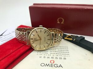 Vintage Gold Omega Seamaster 135.020 Mens Watch + Box + Beads of Rice 1965