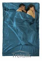 TREKSILK TEAL Double Silk Liner Sleeping Bag Couple Hostel Sheet Summer Camping