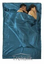 TREKSILK TEAL Double Silk Liner Sleeping Bag Couple Hostel Sheet Summer Camping