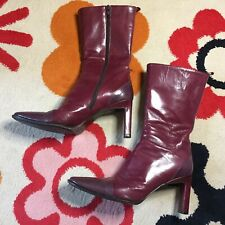 Alberto Zago Vintage Leather Mid Calf High Heel Boots, size 38.5 EU