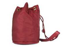 CELINE Nylon Canvas Leather Mini Drawstring Red Shoulder Bag CS17836L